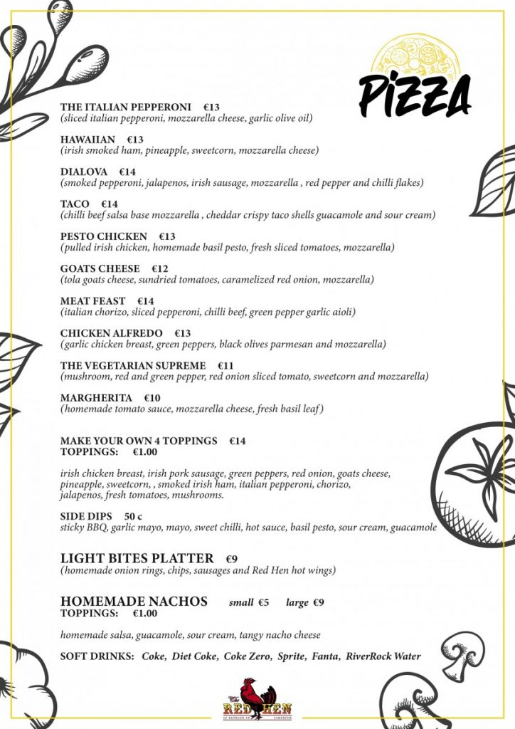 Menu RED HEN MENU UPDATE 724x1024